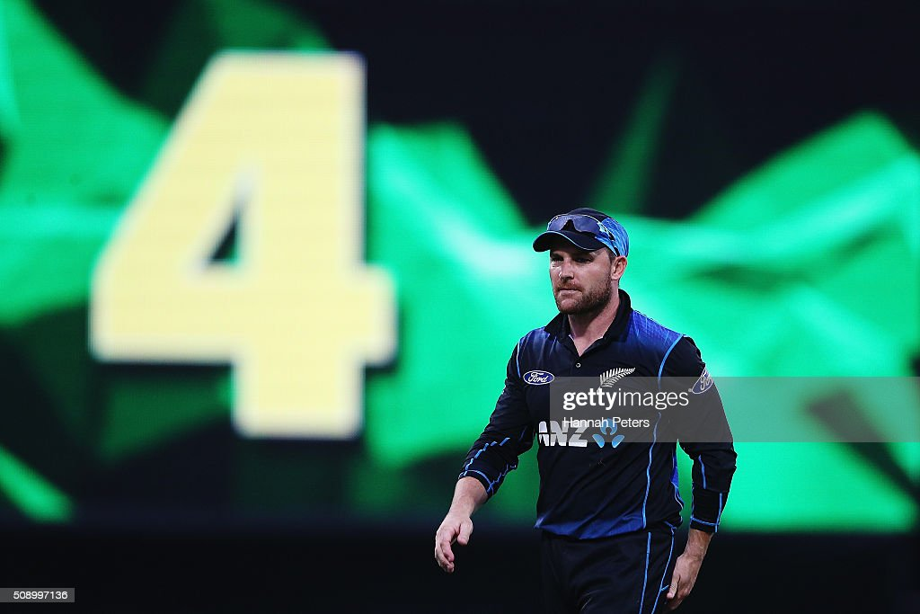 <a gi-track='captionPersonalityLinkClicked' href=/galleries/search?phrase=Brendon+McCullum&family=editorial&specificpeople=208154 ng-click='$event.stopPropagation()'>Brendon McCullum</a> of the Black Caps watches another ball go for four runs during the 3rd One Day International cricket match between the New Zealand Black Caps and Australia at Seddon Park on February 8, 2016 in Hamilton, New Zealand.