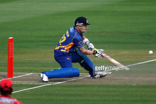 Brendon McCullum of the Volts plays a shot during the HRV Cup Twenty20 match between the Canterbury Wizards and the Otago Volts at QE II Park on...