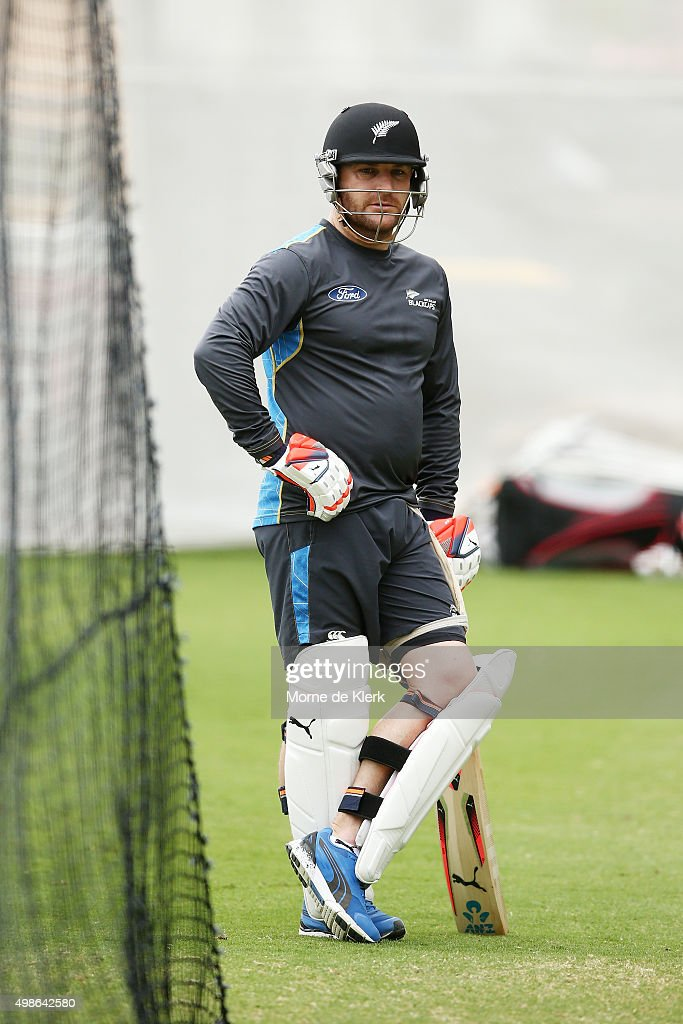 <a gi-track='captionPersonalityLinkClicked' href=/galleries/search?phrase=Brendon+McCullum&family=editorial&specificpeople=208154 ng-click='$event.stopPropagation()'>Brendon McCullum</a> waits for his turn to bat in the nets during a New Zealand training session at Adelaide Oval on November 25, 2015 in Adelaide, Australia.