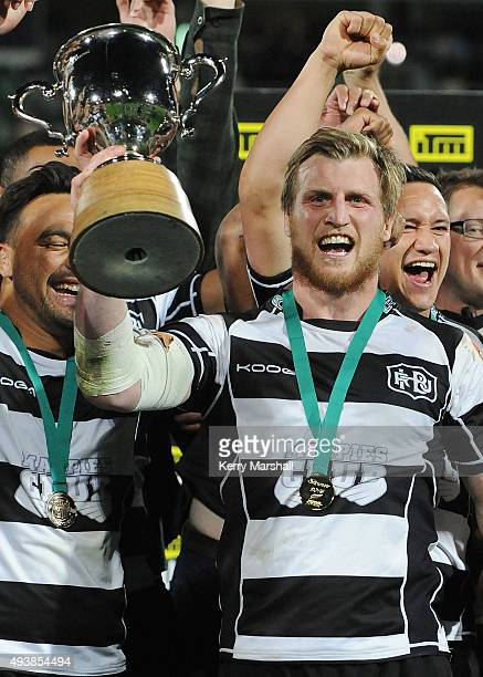 Brendon O'Connor of Hawkes Bay celebrates following the ITM Cup Championship Final between Hawke's Bay and Wellington at McLean Park on October 23...
