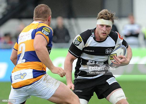 Brendon O'Connor of Hawkes Bay looks for a way past Nathan Harris of the Bay of Plenty during the ITM Cup match between Hawke's Bay and Bay of Plenty...