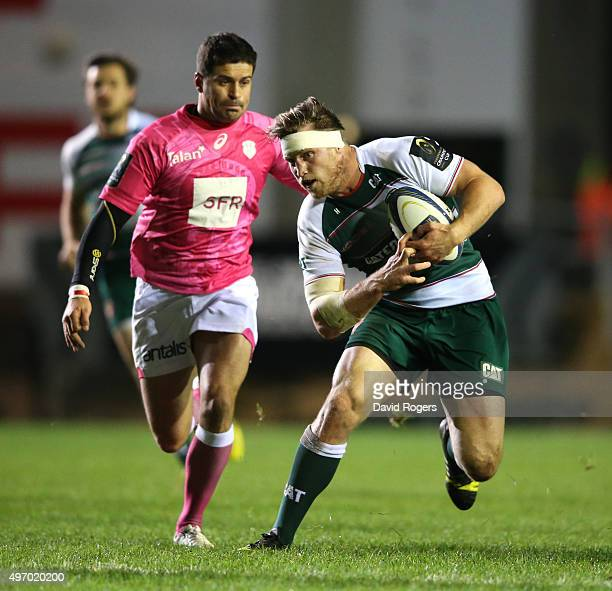 Brendon O'Connor of Leicester breaks away from Morne Steyn during the Eurpean Rugby Champions Cup match between Leicester Tigers and Stade Francais...
