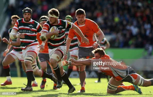 Brendon O'Connor of Leicester breaks with the ball during the Aviva Premiership match between Leicester Tigers and Newcastle Falcons at Welford Road...