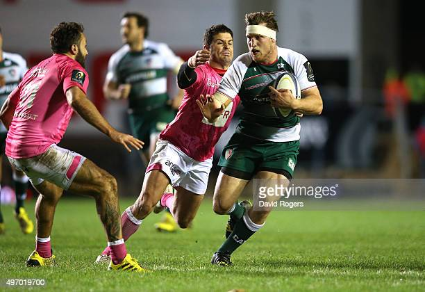 Brendon O'Connor of Leicester charges upfield during the Eurpean Rugby Champions Cup match between Leicester Tigers and Stade Francais at Welford...