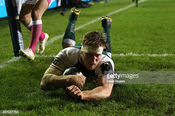 Brendon O'Connor of Leicester dives in for their third try during the Eurpean Rugby Champions Cup match between Leicester Tigers and Stade Francais...