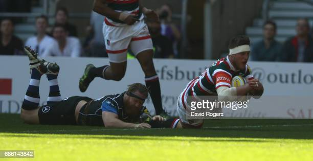 Brendon O'Connor of Leicester dives over for the first try during the Aviva Premiership match between Bath and Leicester Tigers at Twickenham Stadium...