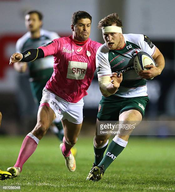 Brendon O'Connor of Leicester moves away from Morne Steyn during the Eurpean Rugby Champions Cup match between Leicester Tigers and Stade Francais at...