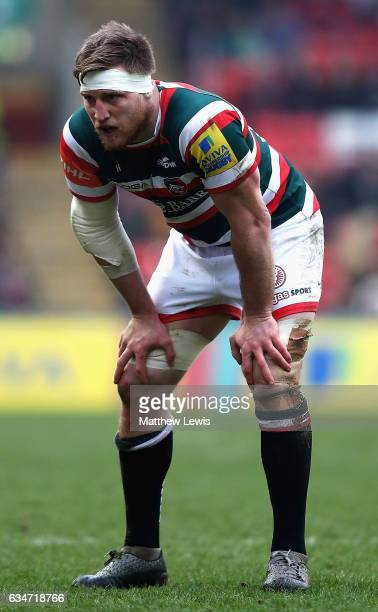 Brendon O'Connor of Leicester Tigers in action during the Aviva Premiership match between Leicester Tigers and Gloucester Rugby at Welford Road on...