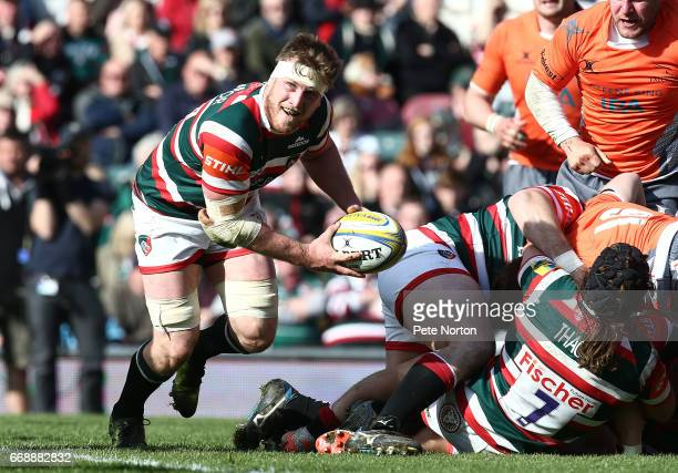 Brendon O'Connor of Leicester Tigers in action during the Aviva Premiership match between Leicester Tigers and Newcastle Falcons at Welford Road on...