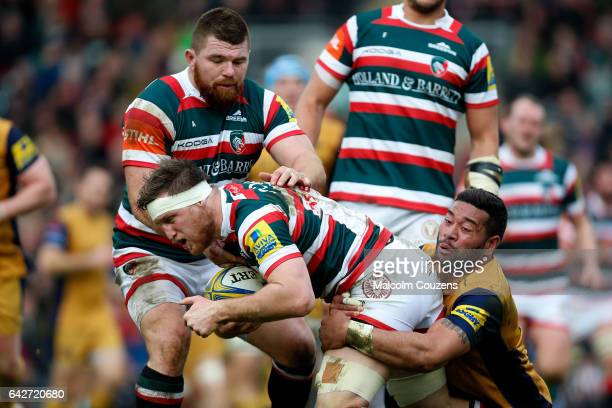 Brendon O'Connor of Leicester Tigers is tackled by Siale Piutau of Bristol Rugby during the Aviva Premiership match between Leicester Tigers and...