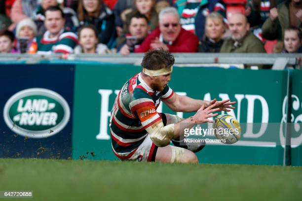 Brendon O'Connor of Leicester Tigers scores a try during the Aviva Premiership match between Leicester Tigers and Bristol Rugby at Welford Road on...