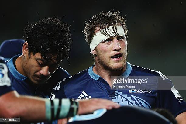 Brendon O'Connor of the Blues looks up at the scoreboard during the round 15 Super Rugby match between the Blues and the Hurricanes at Eden Park on...