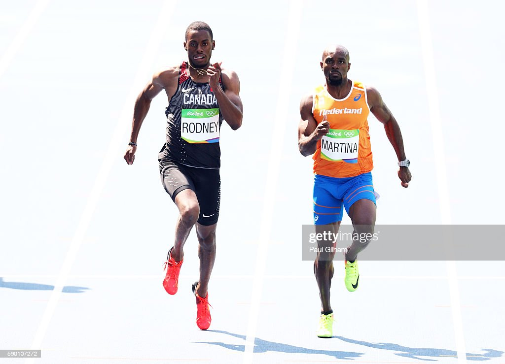 Brendon Rodney of Canada and Churandy Martina of the Netherlands compete during the Men's 200m Round 1 Heat 7 on Day 11 of the Rio 2016 Olympic Games...