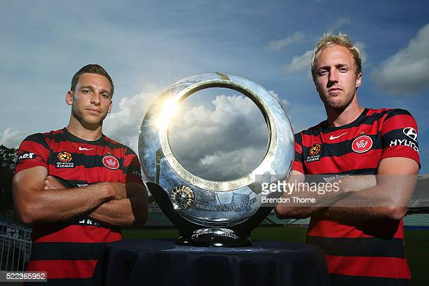 Brendon Santalab and Mitch Nichols of the Wanderers pose during a Western Sydney Wanderers media opportunity at Pirtek Stadium on April 19 2016 in...