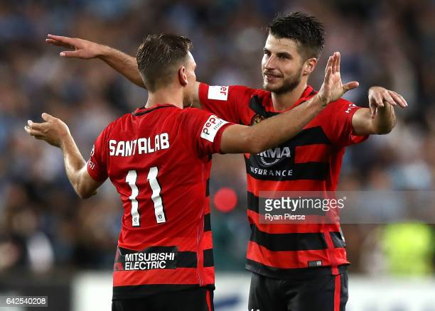 Brendon Santalab and Terry Antonis of of the Wanderers celebrate victory during the round 20 ALeague match between the Western Sydney Wanderers and...