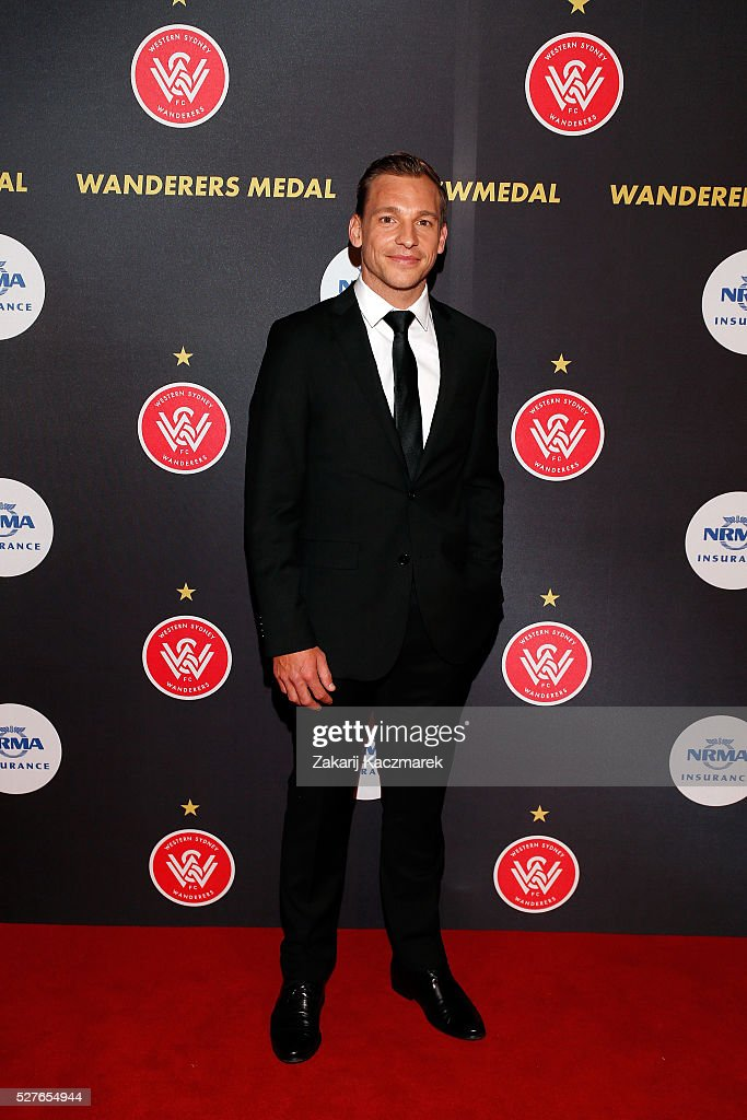 Brendon Santalab arrives during the 2016 Western Sydney Wanderers Awards at Qudos Bank Arena on May 3, 2016 in Sydney, Australia.