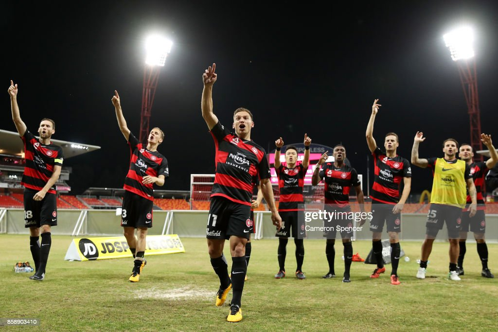 Brendon Santalab of the Wanderers and team mates thank fans after winning the round one A-League match between the Western Sydney Wanderers and the Perth Glory at Spotless Stadium on October 8, 2017 in Sydney, Australia.