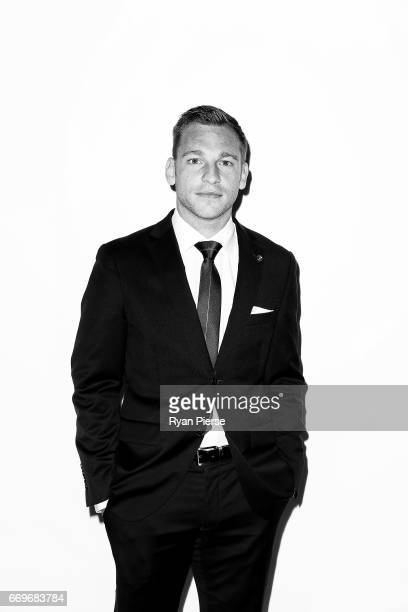 Brendon Santalab of the Wanderers arrives ahead of the Western Sydney Wanderers Medal Night at the International Convention Centre on April 18 2017...