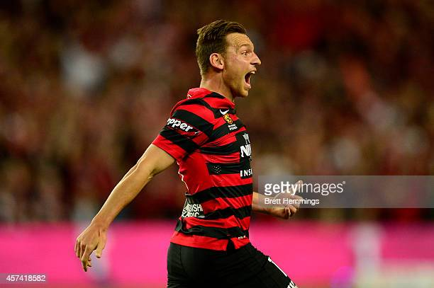Brendon Santalab of the Wanderers celebrates a goal during the round two ALeague match between Sydney FC and the Western Sydney Wanderers at Allianz...