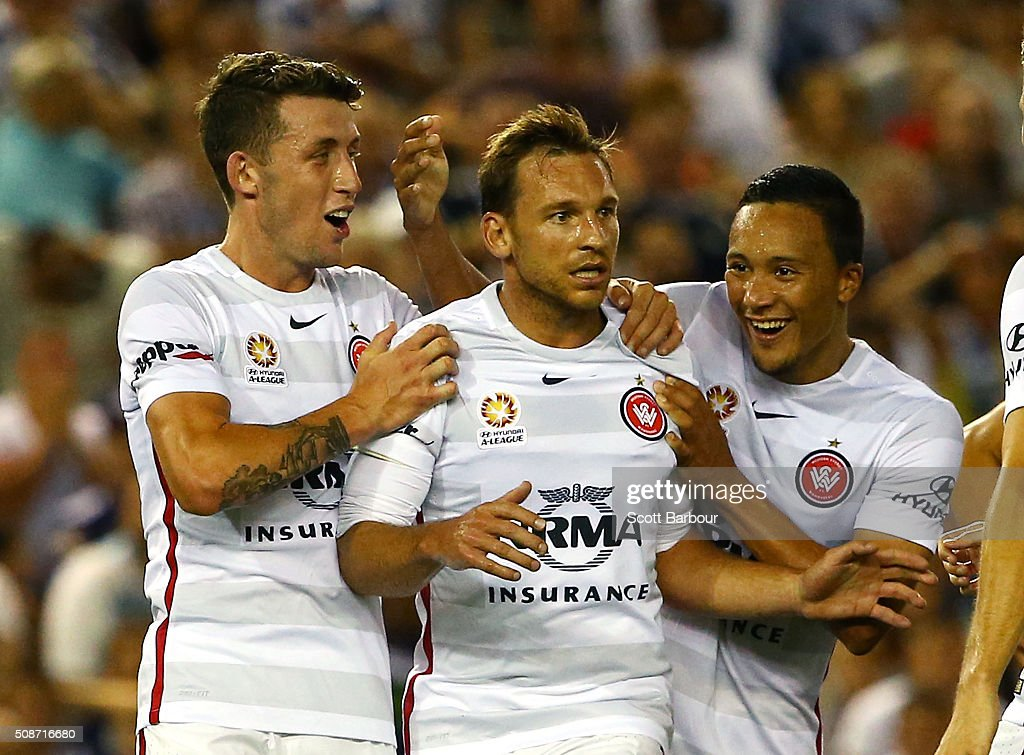 Brendon Santalab of the Wanderers celebrates after scoring their first goal during the round 18 A-League match between the Melbourne Victory and Western Sydney Wanderers at Etihad Stadium on February 6, 2016 in Melbourne, Australia.