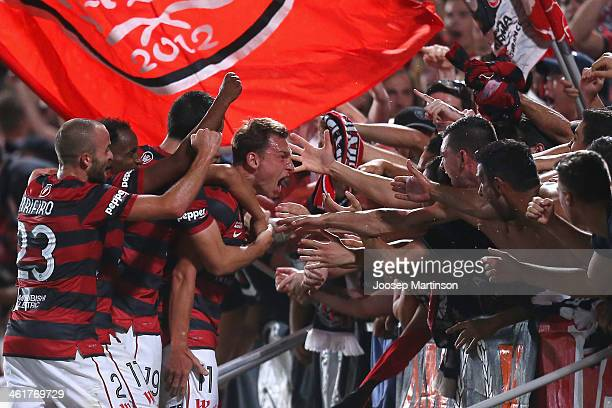 Brendon Santalab of the Wanderers celebrates his goal during the round 14 ALeague match between the Western Sydney Wanderers and Sydney FC at...
