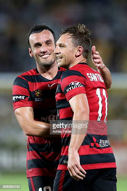 Brendon Santalab of the Wanderers celebrates his goal during the round 16 ALeague match between the Central Coast Mariners and the Western Sydney...
