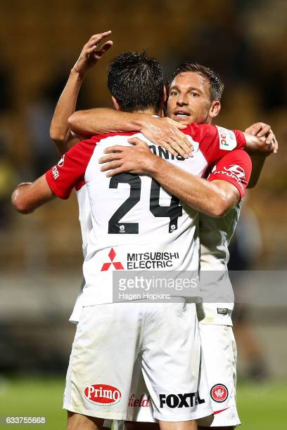 Brendon Santalab of the Wanderers celebrates his goal with Terry Antonis during the round 18 ALeague match between the Wellington Phoenix and the...