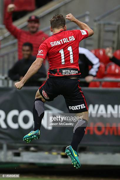 Brendon Santalab of the Wanderers celebrates scoring a goal during the round four ALeague match between the Western Sydney Wanderers and the Central...