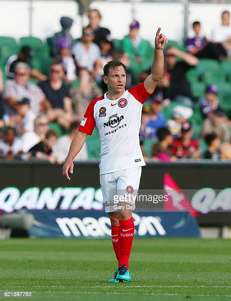 Brendon Santalab of the Wanderers celebrates scoring a goal during the round five ALeague match between the Perth Glory and the Western Sydney...