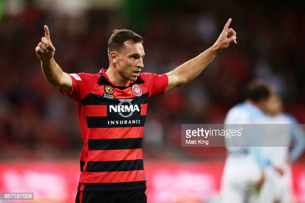 Brendon Santalab of the Wanderers celebrates scoring a goal during the round 24 ALeague match between the Western Sydney Wanderers and Melbourne City...