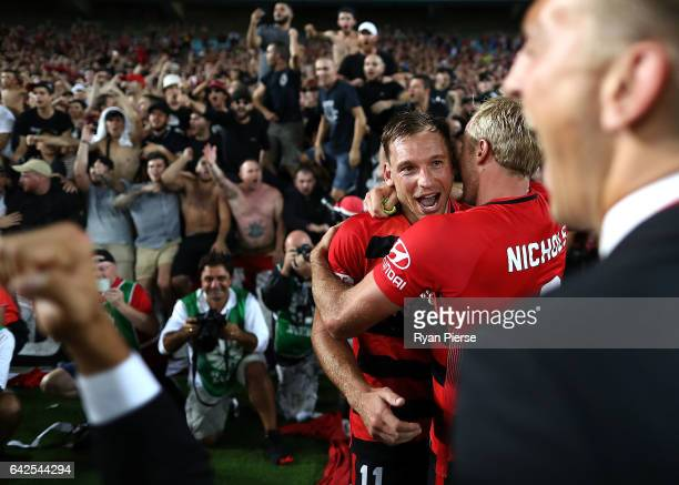 Brendon Santalab of the Wanderers celebrates victory after the round 20 ALeague match between the Western Sydney Wanderers and Sydney FC at ANZ...