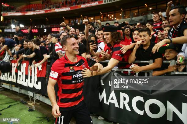 Brendon Santalab of the Wanderers celebrates victory with fans after the round 24 ALeague match between the Western Sydney Wanderers and Melbourne...