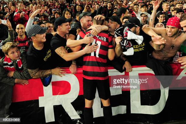 Brendon Santalab of the Wanderers celebrates with fans after victory during the AFC Asian Champions League match between the Western Sydney Wanderers...