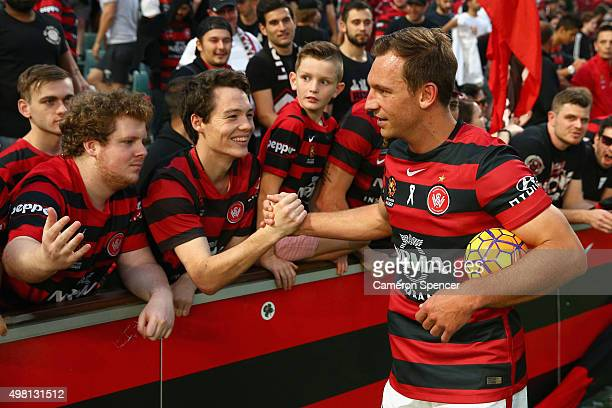 Brendon Santalab of the Wanderers celebrates with fans after winning the round seven ALeague match between Western Sydney Wanderers and Wellington...