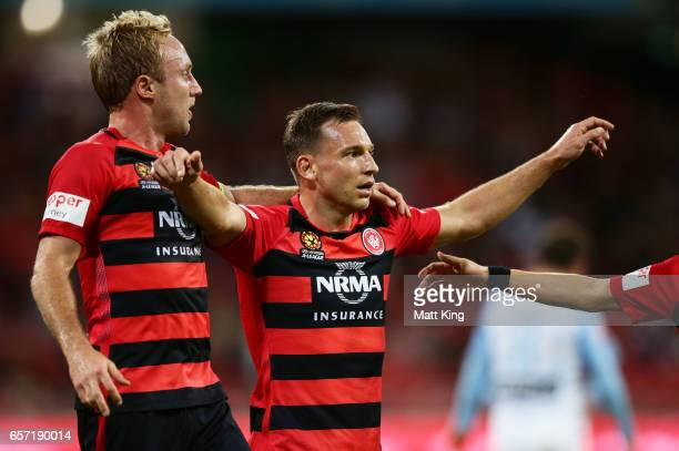 Brendon Santalab of the Wanderers celebrates with Mitch Nichols after scoring a goal during the round 24 ALeague match between the Western Sydney...