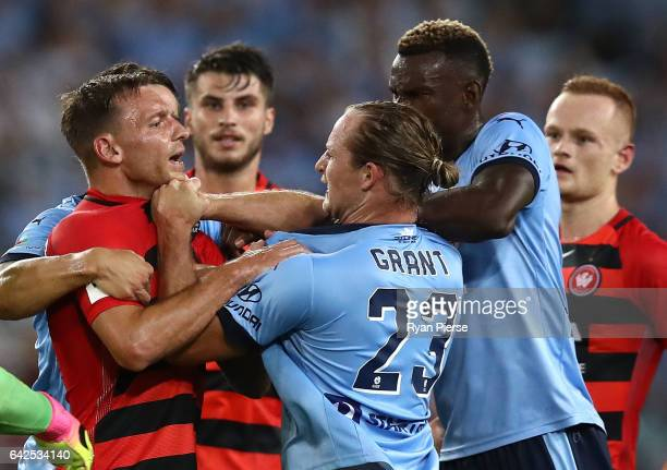 Brendon Santalab of the Wanderers clashes with Rhyan Grant of Sydney FC during the round 20 ALeague match between the Western Sydney Wanderers and...