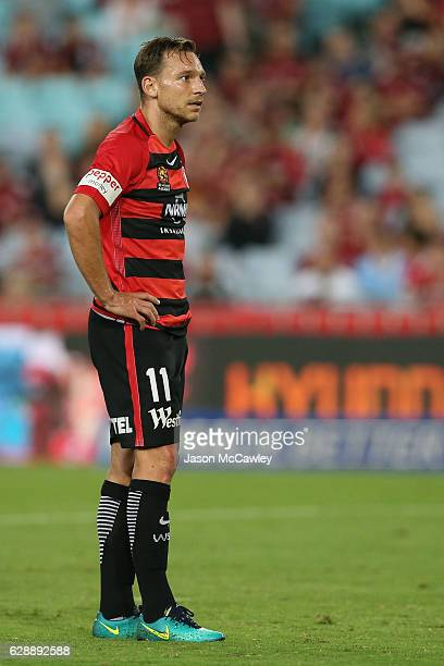 Brendon Santalab of the Wanderers looks dejected during the round 10 ALeague match between the Western Sydney Wanderers and the Melbourne Victory at...