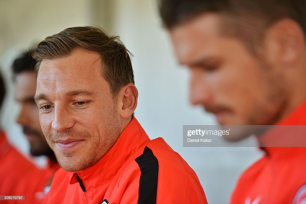 Brendon Santalab of the Wanderers looks on during the A-League Grand Final Fan Day at Bonython Park on April 30, 2016 in Adelaide, Australia.
