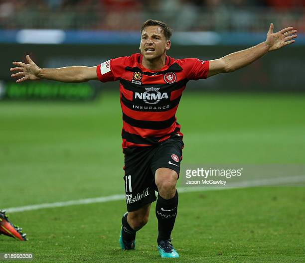 Brendon Santalab of the Wanderers reacts during the round four ALeague match between the Western Sydney Wanderers and the Central Coast Mariners at...