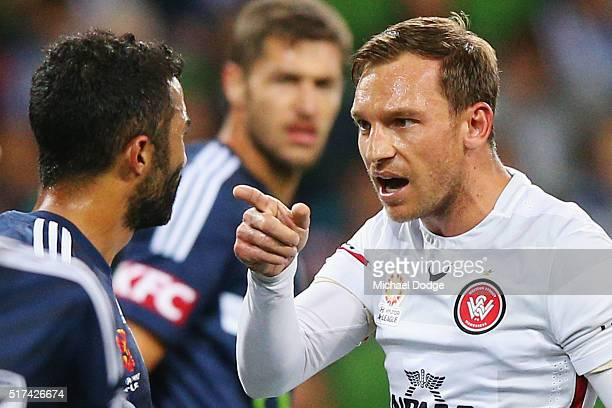 Brendon Santalab of the Wanderers reacts to Ben Khalfallah of the Victory after a contest during the round 25 ALeague match between the Melbourne...