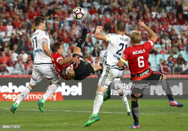Brendon Santalab of the Wanderers shoots at goal during the round 26 ALeague match between the Western Sydney Wanderers and the Melbourne Victory at...