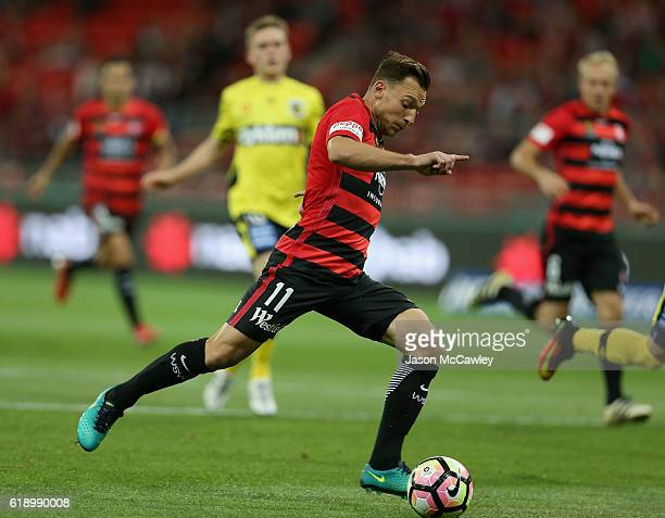 Brendon Santalab of the Wanderers takes a shot at goal during the round four ALeague match between the Western Sydney Wanderers and the Central Coast...