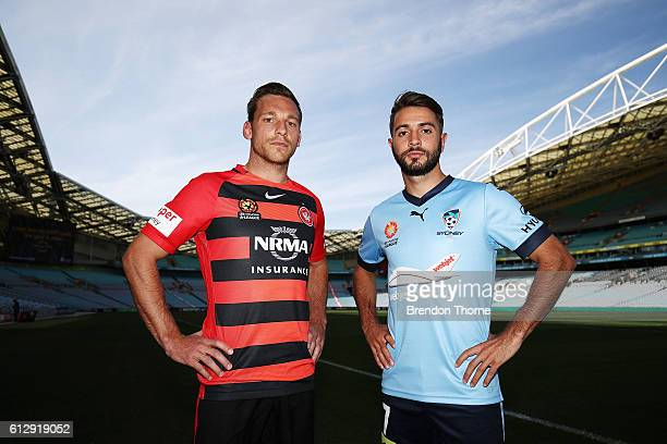 Brendon Santalab of Wanderers and Michael Zullo of Sydney pose during an ALeague press conference at ANZ Stadium on October 6 2016 in Sydney Australia