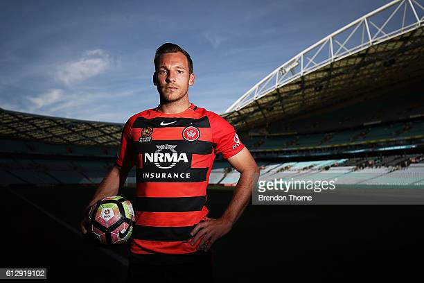 Brendon Santalab of Wanderers poses during an ALeague press conference at ANZ Stadium on October 6 2016 in Sydney Australia
