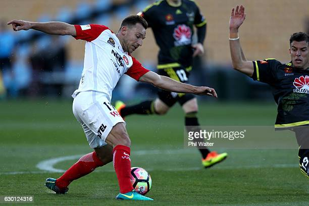 Brendon Santalab of Western Sydney takes the ball forward during the round 11 ALeague match between Wellington and Western Sydney Wanderers at Mt...