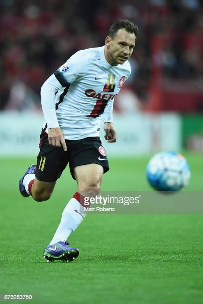 Brendon Santalab of Western Sydney Wanderers competes for the ball during the AFC Champions League Group F match between Urawa Red Diamonds and...