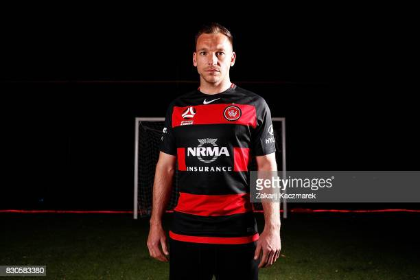 Brendon Santalab poses during the Western Sydney Wanderers 2017/18 ALeague Season kit launch on August 11 2017 in Sydney Australia