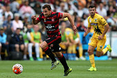 Brendon Santalab runs at goal during the round eight ALeague match between the Central Coast Mariners and the Western Sydney Wanderers at Central...