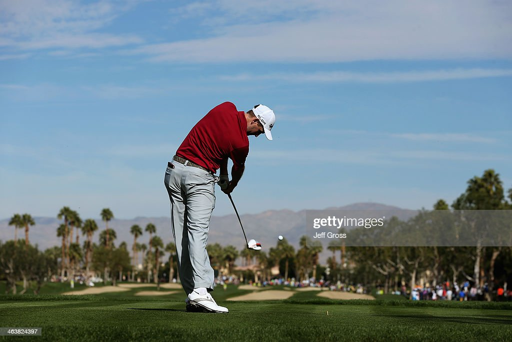 Brendon Todd hits a tee shot on the second hole during the final round of the Humana Challenge in partnership with the Clinton Foundation on the...