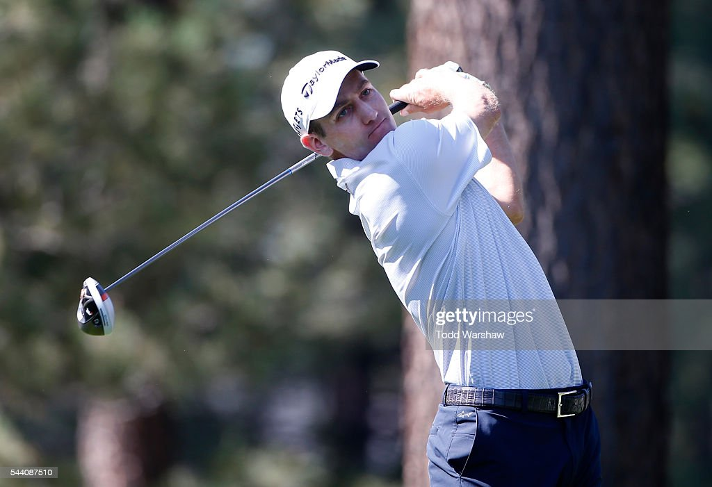 Brendon Todd plays his shot from the eighth tee during the second round of the Barracuda Championship at the Montreux Golf and Country Club on July 1, 2016 in Reno, Nevada.